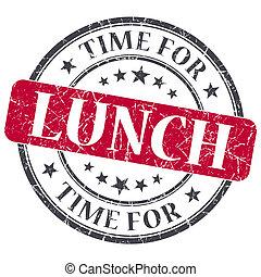 グランジ, 切手, 型, textured, 隔離された, 昼食の 時間, 赤