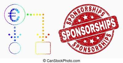 グランジ, 切手, 流れ, 現金, スペクトル, ベクトル, sponsorships, ユーロ, 点, アイコン