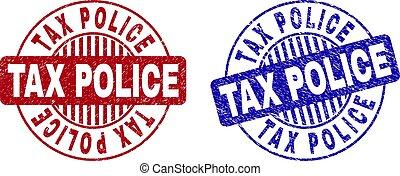 グランジ, 切手, 税, シール, textured, 警察, ラウンド