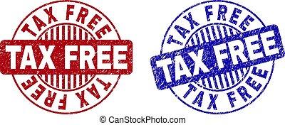 グランジ, 切手, 税, 無料で, シール, textured, ラウンド