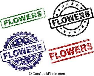 グランジ, 切手, 花, シール, textured