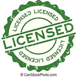 グランジ, 切手, 認可された, ゴム, 緑の背景, シール, 単語, 白, ラウンド