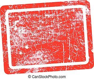 グランジ, 切手, 隔離された, 長方形, 中央, 背景, ブランク, 白い赤