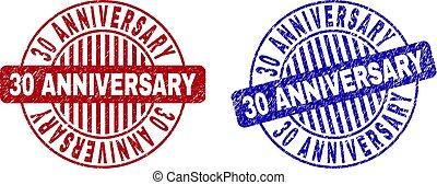 グランジ, 切手, 30, 記念日, シール, textured, ラウンド