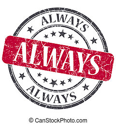 グランジ, 切手, always, textured, 隔離された, 型, 赤