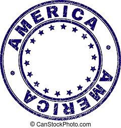グランジ, 切手, textured, シール, アメリカ, ラウンド