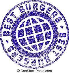 グランジ, 切手, textured, バーガー, シール, 最も良く