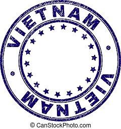 グランジ, 切手, textured, ベトナム, シール, ラウンド