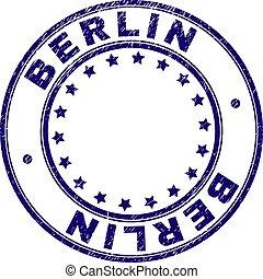 グランジ, 切手, textured, ベルリン, シール, ラウンド