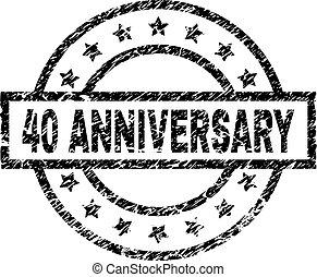 グランジ, 切手, textured, 記念日, 40, シール