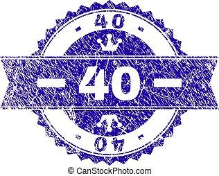 グランジ, 切手, textured, 40, シール, リボン