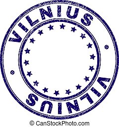 グランジ, 切手, textured, vilnius, シール, ラウンド