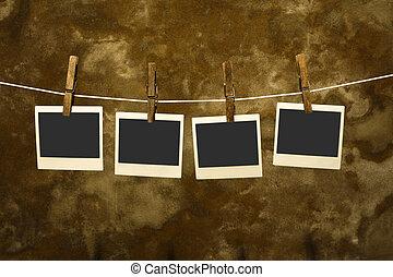 グランジ, 古い, 背景, polaroid, クラシック, 写真