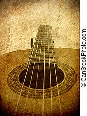 グランジ, 古典である, イメージ, ギター, 見通し, 背景, レトロ