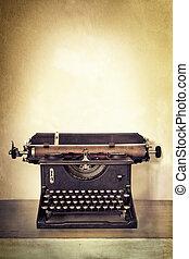 グランジ, 型, 背景, 机, 古い, タイプライター