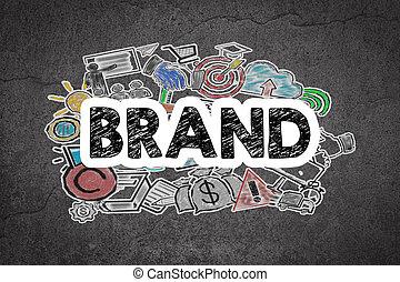 グランジ, 壁, ブランド, 黒, 白, concept.