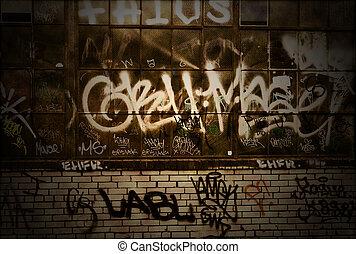 グランジ, 壁, 手ざわり, 落書き, 背景, カバーされた, れんが