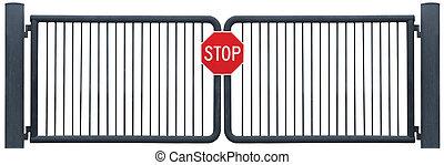 グランジ, 外気に当って変化した, 障壁, 印, 止まれ, 隔離された, 錆ついた, 黒, 門, 古い, 年を取った, 道