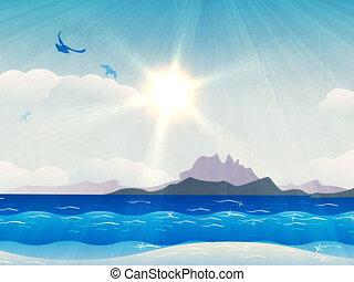 グランジ, 島, 中に, 海洋