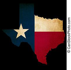 グランジ, 州, アメリカ人, usaアウトライン, 旗, 地図, 効果, テキサス