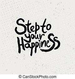 グランジ, -, 引用, 手, バックグラウンド。, ステップ, ベクトル, 黒, 引かれる, あなたの, 幸福