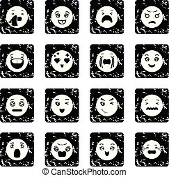 グランジ, 微笑, ベクトル, セット, アイコン