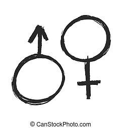 グランジ, 性の 記号, アイコン, イラスト, ベクトル