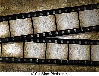 グランジ, 手ざわり, ペーパー, 古い, filmstrips, 型