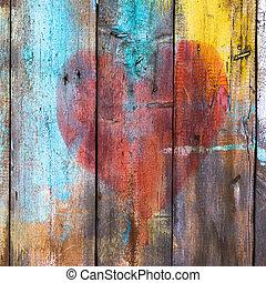 グランジ, 手ざわり, 抽象的, 背景, 木