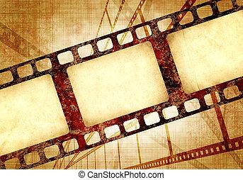 グランジ, 手ざわり, filmstrips, ペーパー, レトロ, 背景