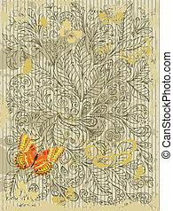 グランジ, 抽象的なデザイン, 蝶