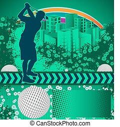 グランジ, 抽象的, ゴルフ, ポスター