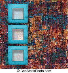 グランジ, 抽象的, 引き裂かれたペーパー, 背景, ポスター, フレーム, 古い