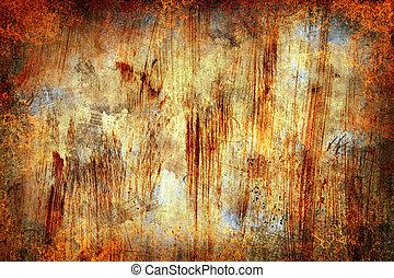 グランジ, 抽象的, 金属, 錆ついた, 背景