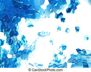 グランジ, 抽象的, 青い背景, faceted