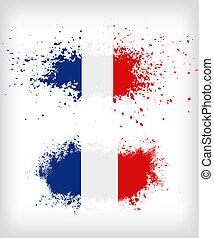 グランジ, 旗, はね飛ばされる, フランス語, インク