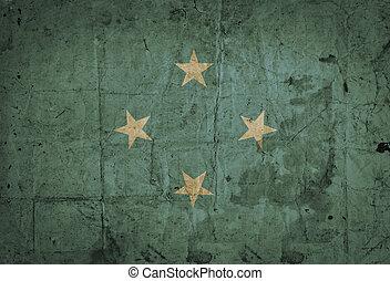 グランジ, 旗, ペーパー, 古い, ミクロネシア