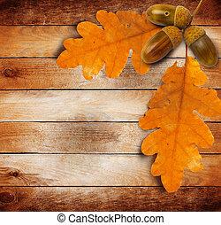 グランジ, 明るい, 葉, 古い, 背景, 木製である, 秋