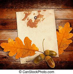 グランジ, 木製である, カシは 去る, ドングリ, 秋, ペーパー, 背景, 古い