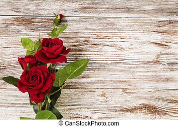 グランジ, 木製である, バラ, 花, 背景, 赤, 花, カード
