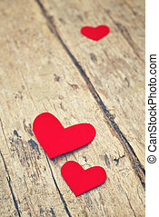 グランジ, 木製である, ペーパー, 背景, 心, 赤