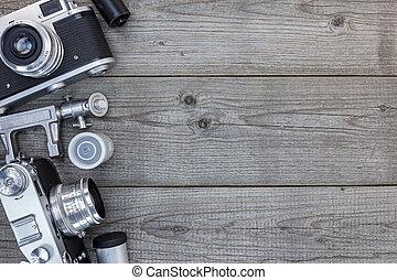 グランジ, 木製である, 型, cameras, テーブル, まだ