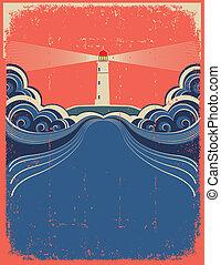 グランジ, 灯台, 青い背景, ベクトル, デザイン, waves.