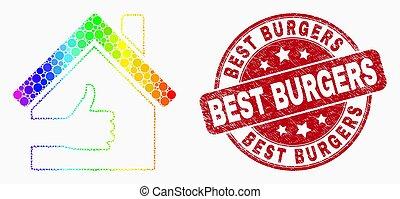 グランジ, 点を打たれた, 切手, 家, バーガー, 明るい, ベクトル, シール, 最も良く, アイコン