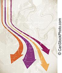 グランジ, 矢, 抽象的, 波, レトロ, 背景
