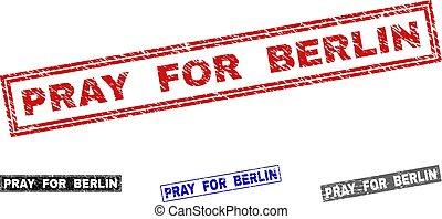 グランジ, 祈る, シール, 切手, ベルリン, textured, 長方形