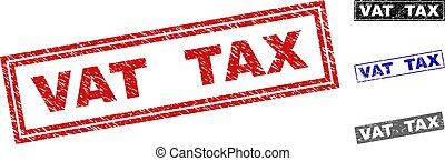 グランジ, 税, スタンプ, 大桶, textured, 長方形