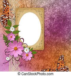 グランジ, 紫色, 型, フレーム, 背景, オレンジ, 上に