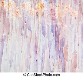 グランジ, 組合せ, 絵, 抽象的, 水彩画, ばら, 花, -floral