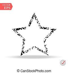 グランジ, 線, ベクトル, バックグラウンド。, シンボル。, star., 星
